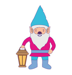 gnome with colorful costume and hand lamp with vector image