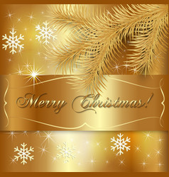 Gold Christmas Holiday Greeting Card vector image