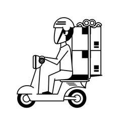 Mailman with scooter with package icon image vector