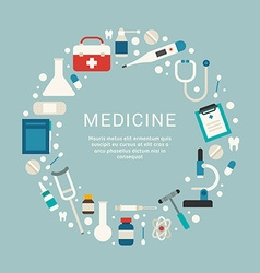Medical icons and objects in the shape of circle vector