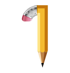 number one pencil icon cartoon style vector image