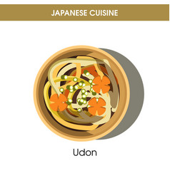 Nutritious udon in deep bowl from japanese cuisine vector