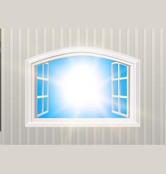 Open window blue sky and sun light view vector