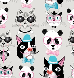 pattern of retro hipster animal portraits vector image