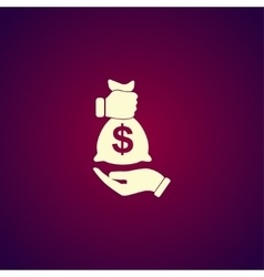 Pictograph of money in hand vector image vector image