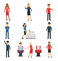 pilot and stewardess at work during the flight set vector image vector image