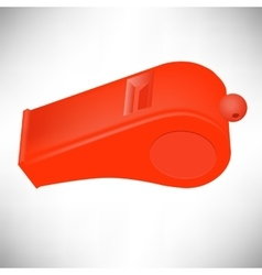 Red plastic whistle vector