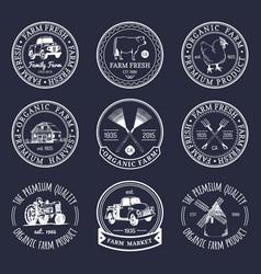 Retro set of farm fresh logotypes vintage vector