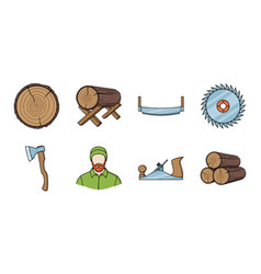 Sawmill and timber icons in set collection for vector