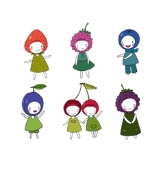 Set of cute cartoon girl berries vector image vector image