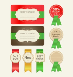 Set of promotion cards design with ribbons vector image vector image