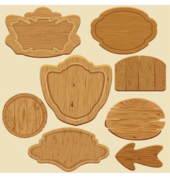 signboards wood set 380 vector image vector image