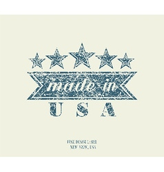 Vintage Denim Typography Made in USA vector image