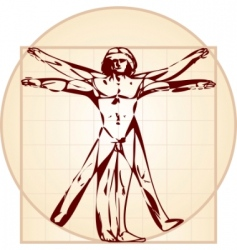 Vitruvian man stylized version vector image vector image