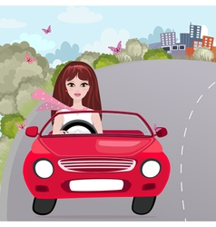 woman car vector image vector image