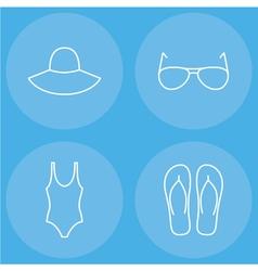 womens beachwear outline icon set vector image vector image