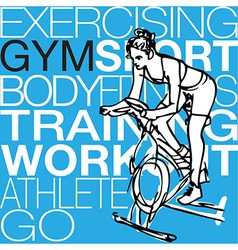 young women on stationary bikes exercising in th vector image vector image