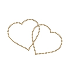 Gold heart icon Golden glitter silhouettemetal vector image