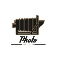 Photo studio symbol of retro folding camera vector
