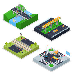 Isometric urban roads with railway crossroad vector