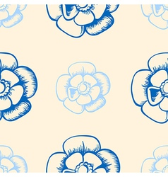 vintage seamless pattern with blue flowers vector image