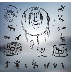 Siberia primitive painting set vector