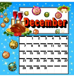 Calendar for december turkey wine candles vector