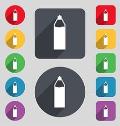 Plastic bottle with drink icon sign a set of 12 vector
