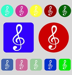 Treble clef icon 12 colored buttons flat design vector