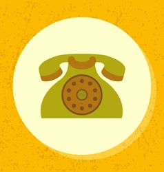 round icon old retro green telephone symbol vector image