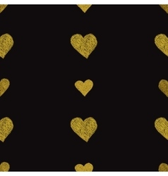 Gold hearts on black background seamless pattern vector