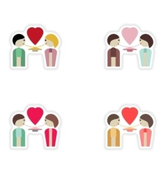 Set of paper stickers on white background lovers vector image