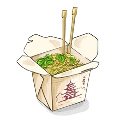 Chinese noodles box color picture vector