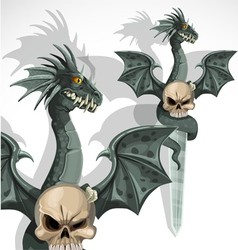 Dragon skull daggers vector