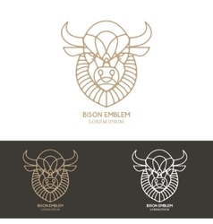 Bison head in line style vector