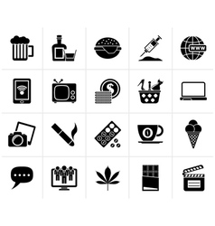 Black different types of addictions icons vector