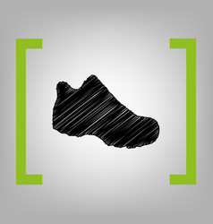 Boot sign black scribble icon in citron vector