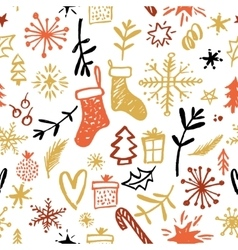 Christmas seamless pattern hand drawn design vector