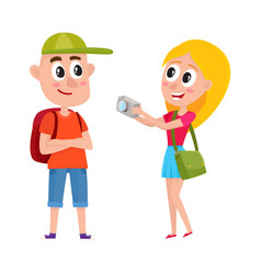 Couple of tourists with backpacks on vacation tour vector