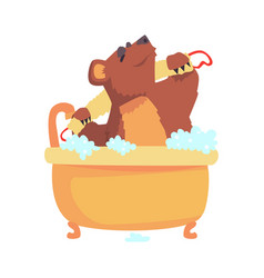 Cute cartoon bear taking a bath washing its body vector