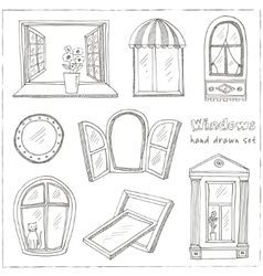Doodle windows set isolated Hand drawn vector image vector image