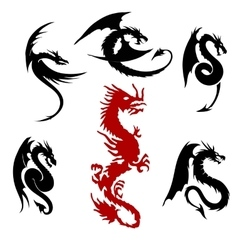 dragon silhouettes set vector image