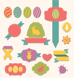 Easter scrapbook set - labels ribbons and other vector image vector image