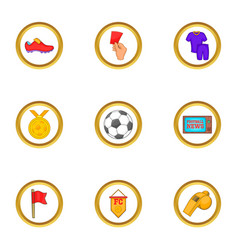 Football club icons set cartoon style vector