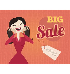 Girl or woman on shopping sale retro style sale vector