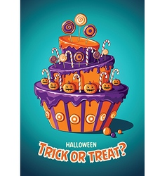 Halloween vintage poster trick or treat cake and vector