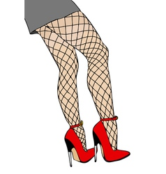 Legs and fishnet stockings vector image vector image
