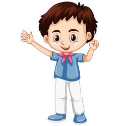 little boy waving hand vector image vector image