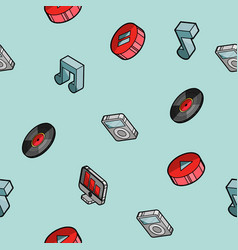Music color outline isometric pattern vector