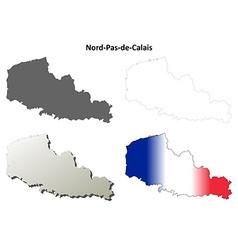 Nord-pas-de-calais blank outline map set vector